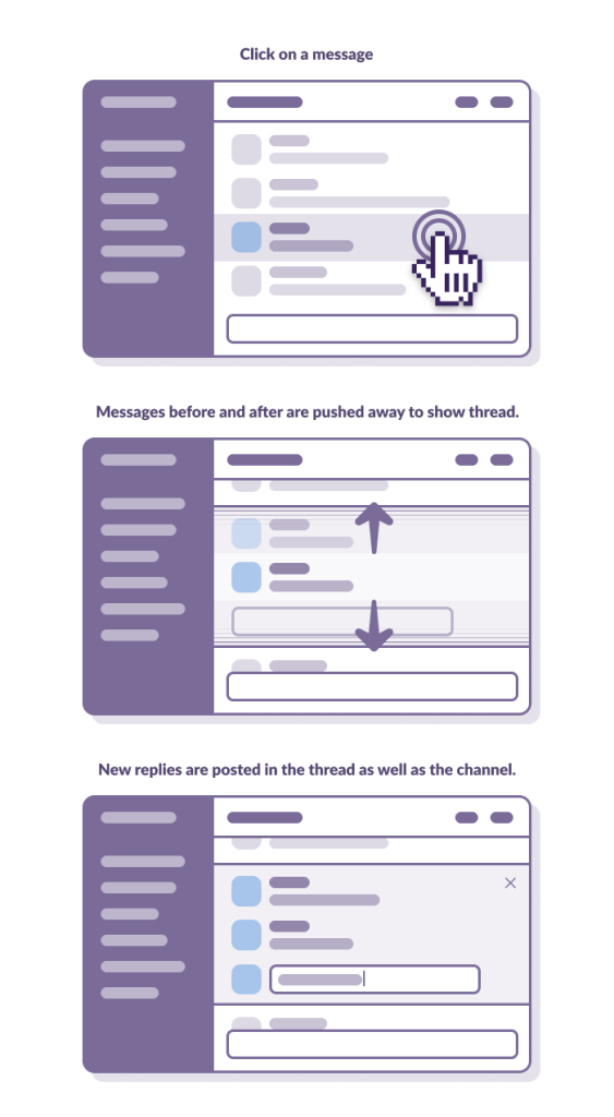 wireframes showing a message with replies; the conversation expands to show the replies when you click it