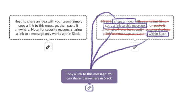 Diagram shows breaking tooltip into essential and non-essential info