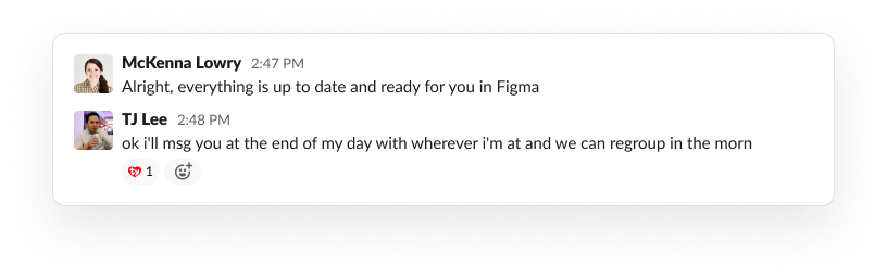 McKenna direct messages TJ to show the shared Figma file is ready for him