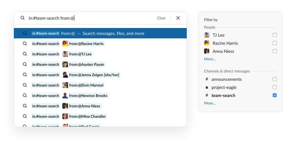A search in Slack filtered by channels and users