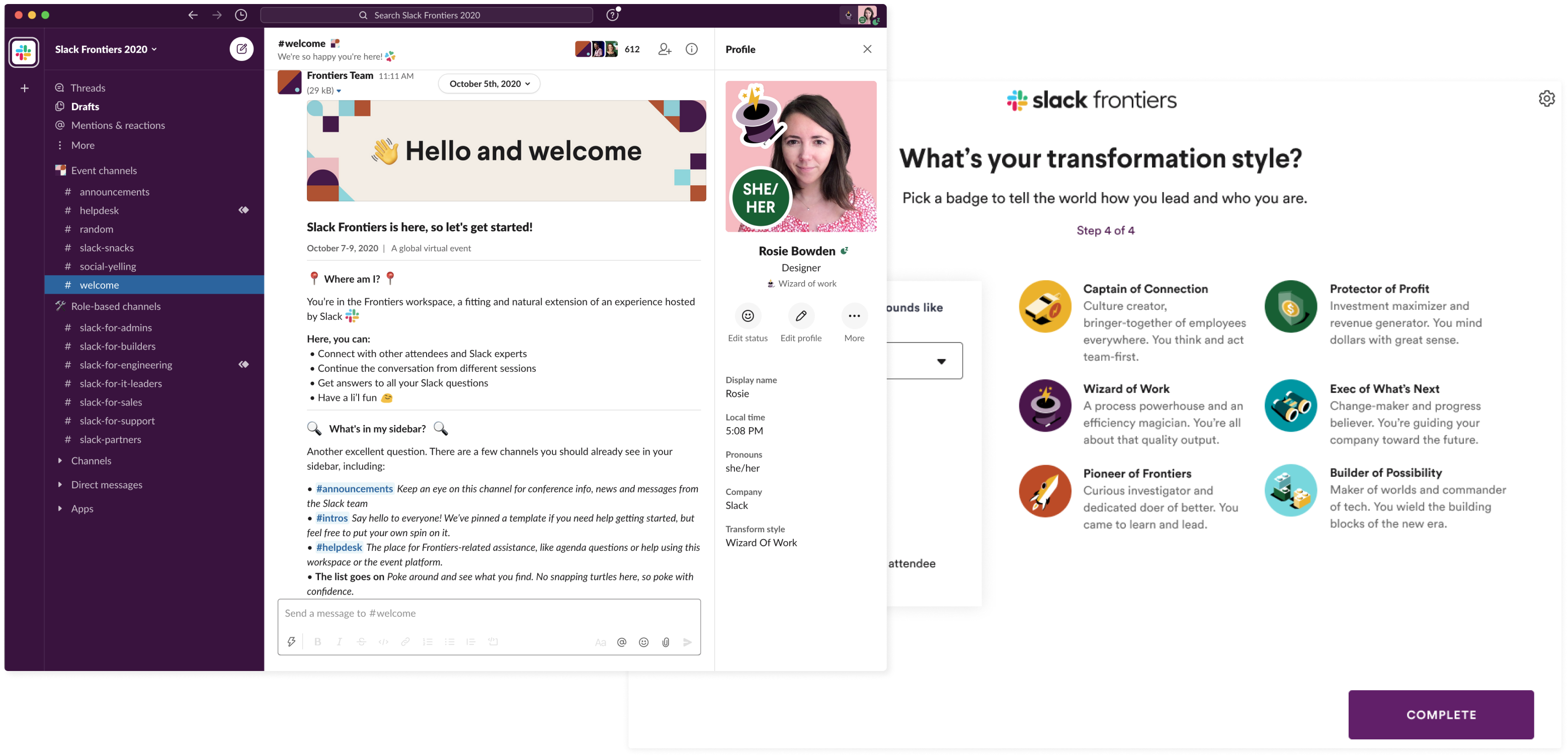 Slack Frontiers workspace with detailed profiles; badges for transformation styles like wizard of work