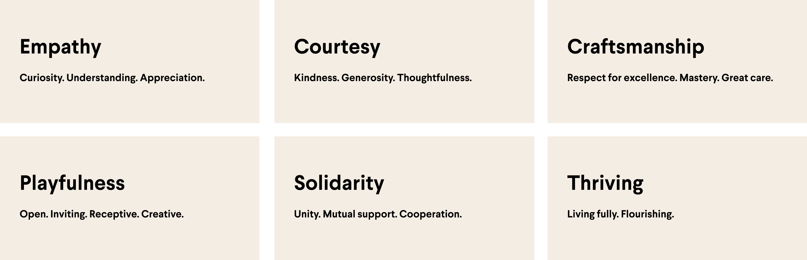 Slack core values: empathy, courtesy, craftsmanship, playfulness, solidarity and thriving